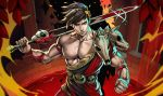 1boy animal_skull brown_hair clenched_hand closed_mouth commentary dandon_fuga fingernails green_eyes hades_(game) highres holding holding_sword holding_weapon looking_at_viewer muscle nipples serious solo sword sword_behind_back upper_body violet_eyes wavy_hair weapon zagreus