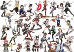 6+girls absurdres abyssal_ship agano_(kantai_collection) amagiri_(kantai_collection) aquila_(kantai_collection) asakaze_(kantai_collection) asymmetrical_legwear baseball baseball_bat baseball_mitt bismarck_(kantai_collection) breasts character_name colorado_(kantai_collection) dress enemy_lifebuoy_(kantai_collection) fusou_(kantai_collection) gambier_bay_(kantai_collection) glasses hair_ribbon hat hatakaze_(kantai_collection) hayanami_(kantai_collection) headgear highres holding hornet_(kantai_collection) i-13_(kantai_collection) i-47_(kantai_collection) isokaze_(kantai_collection) japanese_clothes kagerou_(kantai_collection) kantai_collection kasumi_(kantai_collection) kinu_(kantai_collection) kiyoshimo_(kantai_collection) long_hair low_twintails mascot multiple_girls necktie one-piece_swimsuit ooyodo_(kantai_collection) open_mouth peaked_cap ponytail remodel_(kantai_collection) ribbon sailor_collar sailor_dress satsuki_(kantai_collection) school_uniform serafuku short_hair shorts simple_background spi_(kugepot) swimsuit throwing twintails twitter_username warspite_(kantai_collection) white_background yamato_(kantai_collection) yukikaze_(kantai_collection) yuubari_(kantai_collection) z1_leberecht_maass_(kantai_collection)