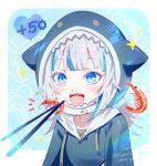 1girl animal_hood bangs blue_eyes blue_hair blue_hoodie blush chopsticks eating feeding food gawr_gura hololive hololive_english hood looking_at_viewer multicolored_hair open_mouth shark_hood shark_tail sharp_teeth short_hair shrimp smile streaked_hair tail teeth virtual_youtuber white_hair youmicitrustea
