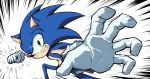 1boy animal_nose blurry depth_of_field english_commentary gloves green_eyes grin incoming_attack incoming_punch looking_at_viewer male_focus meme pov ryan_(ritenichi) smile solo sonic sonic_the_hedgehog speed_lines super_smash_bros. white_gloves