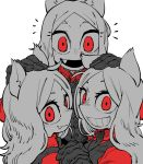 3girls :d animal_ears black_neckwear black_vest cerberus_(helltaker) closed_mouth commentary english_commentary fang fang_out gloves grin helltaker highres interlocked_fingers long_hair looking_at_viewer monochrome multiple_girls necktie open_mouth red_eyes red_theme simple_background smile ssambatea triplets vest white_background white_hair wolf_ears