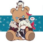 1girl animal_ears arknights bangs bear_ears blue_headwear blue_neckwear boots chibi commentary_request creepy_himecchi cross-laced_footwear fur-trimmed_boots fur_trim grey_eyes grey_footwear hair_between_eyes heart highres jacket lace-up_boots long_hair long_sleeves lying multicolored_hair necktie pom_pom_(clothes) rosa_(arknights) silver_hair solo streaked_hair stuffed_animal stuffed_toy teddy_bear ursus_empire_logo white_jacket