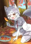 1girl animal_ears autumn_leaves blue_eyes blush chestnut commentary_request dog_(mixed_breed)_(kemono_friends) dog_ears dog_girl dog_tail elbow_gloves eyebrows_visible_through_hair fang fur_trim gloves grey_hair grey_jacket grey_legwear grey_skirt harness heterochromia highres jacket kamuraaa_615 kemono_friends kneeling leaf looking_at_viewer multicolored multicolored_clothes multicolored_hair multicolored_legwear open_mouth pantyhose pleated_skirt short_hair skirt solo sweater tail two-tone_coat white_gloves white_hair white_jacket white_legwear white_sweater yellow_eyes