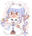 1girl 1other animal_ears bangs black_gloves black_leotard blue_hair blush bow braid carrot carrot_hair_ornament chibi closed_eyes coat commentary d: don-chan_(usada_pekora) eyebrows_visible_through_hair food_themed_hair_ornament fur-trimmed_coat fur-trimmed_gloves fur_trim furrowed_eyebrows gloves hair_ornament hands_up hololive kuro_(kuroneko_no_kanzume) leotard long_hair open_mouth pantyhose print_coat rabbit_ears rabbit_girl revision shaded_face short_eyebrows strangling sweat thick_eyebrows trembling twin_braids twintails usada_pekora virtual_youtuber wavy_mouth white_coat