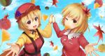 2girls absurdres aki_minoriko aki_shizuha apple apron blonde_hair blue_sky breasts chestnut clouds commentary_request day dress eyebrows_visible_through_hair food fruit ginkgo_leaf hair_ornament hat highres holding_hands leaf leaf_hair_ornament long_sleeves looking_at_viewer luke_(kyeftss) maple_leaf medium_breasts mob_cap mouth_hold multiple_girls one_eye_closed open_mouth outdoors outstretched_hand reaching_out red_apple red_apron red_dress red_eyes red_headwear shirt short_hair siblings sisters sky standing touhou upper_body upper_teeth yellow_eyes yellow_shirt yuzu_(fruit)