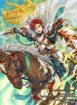 1boy cain_(fire_emblem:_shadow_dragon) cape fire_emblem fire_emblem:_mystery_of_the_emblem fire_emblem:_new_mystery_of_the_emblem fire_emblem:_shadow_dragon fire_emblem:_shadow_dragon_and_the_blade_of_light fire_emblem_cipher horse lightning official_art red_eyes redhead shiki_karuta sword weapon white_armor white_cape