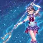 2girls ahoge aura back_bow bishoujo_senshi_sailor_moon black_hair boots bow breasts brown_eyes choker circlet cosplay earrings elbow_gloves eyebrows_visible_through_hair garnet_rod gloves hair_between_eyes holding holding_spear holding_weapon jewelry kantai_collection large_breasts long_hair multiple_girls night open_mouth polearm purple_sailor_collar red_ribbon ribbon sailor_collar sailor_saturn sailor_saturn_(cosplay) sailor_senshi sailor_senshi_uniform saturn_symbol sharasohju silence_glaive sky smile solo spear star_(sky) star_(symbol) star_choker starry_sky super_sailor_saturn ushio_(kantai_collection) weapon white_gloves
