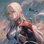 1girl bangs breasts capelet closed_mouth clouds cloudy_sky day edelgard_von_hresvelg expressionless feathers fire_emblem fire_emblem:_three_houses forehead garreg_mach_monastery_uniform gloves hair_ribbon highres lips long_hair looking_at_viewer maccha_(mochancc) medium_breasts outdoors parted_bangs red_capelet ribbon signature silver_hair sky solo straight_hair uniform upper_body violet_eyes white_gloves