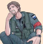 1boy ace_combat ace_combat_7 armband blonde_hair blue_eyes collarbone commentary count_(ace_combat_7) facial_hair finger_in_mouth grin looking_at_viewer md5_mismatch osean_flag patch pilot pilot_suit resolution_mismatch sitting smile source_larger takato15_c watch wavy_hair zipper
