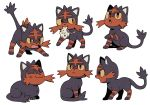 ^_^ absurdres bluekomadori cat closed_eyes commentary_request creature full_body gen_7_pokemon highres litten mouth_hold no_humans pokemon pokemon_(creature) simple_background sitting starter_pokemon stuffed_toy togedemaru white_background