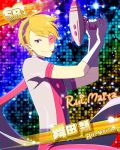 blonde_hair character_name dress gun idolmaster idolmaster_side-m maita_rui red_eyes short_hair smile wink