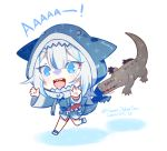 1girl alligator animal_hood bangs biting blue_eyes blue_hair blue_hoodie crocodilian gawr_gura hololive hololive_english hood long_sleeves multicolored_hair open_mouth shark_girl shark_hood shark_tail sharp_teeth streaked_hair tail teeth virtual_youtuber white_hair youmicitrustea