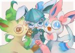 :d aqua-framed_eyewear bespectacled blue_eyes brown_eyes commentary_request gen_4_pokemon gen_6_pokemon glaceon glasses highres kikuyoshi_(tracco) leafeon no_humans open_mouth paws pink-framed_eyewear pokemon pokemon_(creature) smile sylveon tongue tongue_out translation_request