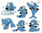 bathing bluekomadori closed_eyes commentary_request creature full_body gen_7_pokemon highres multiple_views music musical_note no_humans pokemon pokemon_(creature) popplio simple_background singing spoken_musical_note starter_pokemon white_background