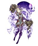 1girl barefoot blonde_hair blood blood_on_face bloody_clothes briar_rose_(sinoalice) corruption crown empty_eyes expressionless full_body full_body_tattoo hospital_gown ji_no looking_at_viewer multicolored multicolored_skin official_art pale_skin purple_skin sinoalice solo tattoo thorn thorns torn_clothes transparent_background yellow_eyes