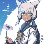 1girl absurdres animal_ears bangs blue_eyes cat_ears dark_skin facial_mark final_fantasy final_fantasy_xiv flower hair_tubes highres hjz_(artemi) holding holding_flower looking_at_viewer miqo'te neck_tattoo short_hair simple_background slit_pupils smile solo tattoo upper_body whisker_markings white_hair y'shtola_rhul