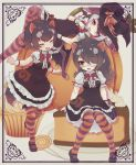 3girls absurdres animal_ears australian_devil_(kemono_friends) bat_ears bat_girl bat_wings black_dress black_hair black_legwear bow bowtie cake cake_slice center_frills common_vampire_bat_(kemono_friends) cupcake dress eyebrows_visible_through_hair eyepatch food frilled_dress frills giant_food halloween_costume hat highres japari_symbol kemono_friends kemono_friends_3 kolshica long_hair lying mary_janes matching_outfit medical_eyepatch multicolored multicolored_clothes multicolored_hair multicolored_legwear multiple_girls on_back orange_legwear pantyhose puffy_short_sleeves puffy_sleeves pumpkin purple_hair purple_legwear red_neckwear shirt shoes short_hair short_sleeves sitting striped striped_legwear suspenders tasmanian_devil_(kemono_friends) tasmanian_devil_ears tasmanian_devil_tail white_hair white_shirt wings witch_costume witch_hat