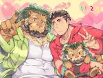 2boys alternate_costume animal_ears arsalan_(tokyo_houkago_summoners) bara beard black_hair blush brown_fur casual chest chest_hair collarbone couple covered_abs covered_navel facial_hair fingernails furry green_hair green_hoodie halo lion_boy lion_ears looking_at_another male_focus medium_hair multiple_boys muscle paws red_eyes red_hoodie sharp_fingernails short_hair smile stubble stuffed_animal stuffed_toy tokyo_houkago_summoners upper_body v yellow_eyes youzora_samo18 zabaniya_(tokyo_houkago_summoners)