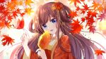 1girl :d autumn autumn_leaves bangs blue_eyes branch brown_hair bug butterfly butterfly_on_finger chinese_clothes chinese_commentary dress eyebrows_visible_through_hair flower gou_lianlian_dogface hair_flower hair_ornament hair_rings hanfu highres holding holding_flower insect leaf leaf_hair_ornament long_hair looking_at_viewer open_mouth original red_dress sidelocks smile solo twintails upper_body