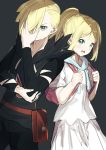 1boy 1girl absurdres backpack bag bangs black_pants black_shirt blonde_hair braid brother_and_sister closed_mouth drawstring eyebrows_visible_through_hair gladion_(pokemon) green_eyes grey_background hair_over_one_eye hand_up highres holding_strap huge_filesize lillie_(pokemon) long_hair long_sleeves looking_at_viewer misaki_nonaka open_mouth pants pleated_skirt pokemon pokemon_(game) pokemon_sm ponytail puffy_short_sleeves puffy_sleeves shirt short_sleeves siblings simple_background skirt upper_teeth white_shirt white_skirt