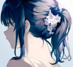 1girl achiki bangs bare_shoulders blue_hair commentary_request eyebrows_visible_through_hair flower gradient gradient_background grey_background hair_between_eyes hair_flower hair_ornament looking_away nape original ponytail portrait sleeveless solo violet_eyes white_flower