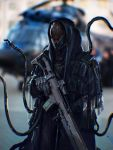 armor blurry blurry_background gun helmet highres holding holding_gun holding_weapon looking_ahead original photo_background science_fiction siku199 solo tentacles weapon