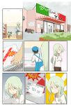 anchovy_(girls_und_panzer) anzai_romi commentary_request green_hair hair_ribbon highres italian_flag jinguu_(4839ms) long_hair mother_and_daughter red_eyes ribbon stuffed_animal stuffed_toy supermarket
