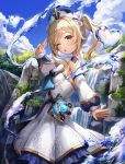 1girl ;o bangs barbara_(genshin_impact) blue_eyes blue_sky book breasts clouds detached_sleeves dress genshin_impact heart highres lunacle one_eye_closed open_mouth outdoors sidelocks sky small_breasts solo tree twintails v water waterfall white_dress white_headwear