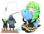2girls blue_hair blush_stickers byleth_(fire_emblem) byleth_(fire_emblem)_(female) closed_eyes dededsw_123 fire_emblem fire_emblem:_three_houses fish fishing_rod flayn_(fire_emblem) from_behind garreg_mach_monastery_uniform green_hair holding holding_fishing_rod long_hair long_sleeves multiple_girls open_mouth uniform