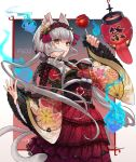 1girl :3 animal_ear_fluff animal_ears bangs bell blue_fire blunt_bangs candy_apple cat_ears cat_girl character_request chouchin_obake closed_mouth copyright_name cowboy_shot csyday dress english_commentary fingernails fire floating_hair floral_print food frilled_kimono frilled_sleeves frills grey_eyes grey_hair hair_bell hair_ornament hair_stick hairband hand_up highres hitodama holding holding_food japanese_clothes jingle_bell kimono lace-trimmed_dress lace_trim lantern layered_dress long_fingernails long_hair long_sleeves looking_at_viewer low_twintails mixed-language_commentary multiple_tails nekomata obi outside_border outstretched_hand paper_lantern phantasy_star phantasy_star_online_2 rope sash sidelocks smile tail tongue tongue_out twintails two_tails very_long_hair wide_sleeves youkai