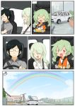 anchovy_(girls_und_panzer) anzai_romi car commentary_request embarrassed glasses green_hair ground_vehicle hair_ribbon highres jinguu_(4839ms) long_hair mother_and_daughter motor_vehicle rainbow red_eyes ribbon smile stuffed_animal stuffed_toy tsuji_renta wheel