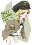 1girl black_bow black_neckwear blonde_hair blouse bob_(you-u-kai) bow brown_eyes brown_jacket commentary cowboy_shot cropped_legs dated english_text erwin_(girls_und_panzer) girls_und_panzer green_headwear green_skirt half-closed_eyes hands_in_pockets happy_birthday hat jacket leaning_forward long_sleeves looking_at_viewer military_hat military_jacket miniskirt ooarai_school_uniform open_clothes open_jacket open_mouth outline peaked_cap pleated_skirt pointy_hair sailor_collar school_uniform serafuku short_hair skirt smile solo standing white_blouse white_outline white_sailor_collar