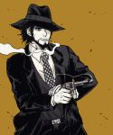 1boy black_hair black_headwear black_jacket black_pants brown_background cigarette cipcal facial_hair fedora firing formal gun handgun hat hat_over_one_eye highres holding holding_weapon jacket jigen_daisuke lupin_iii mature monochrome necktie pants pistol revolver shading weapon