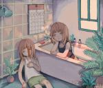 2girls bangs bathtub blood brown_hair cactus calendar_(object) cigarette grey_eyes highres kapura leaf long_hair looking_up multiple_girls original phone plant potted_plant shadow signature smoke window