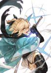 1girl black_legwear black_sash black_scarf blonde_hair fate_(series) green_eyes hankuri haori holding holding_sword holding_weapon japanese_clothes katana kimono koha-ace looking_at_viewer obi okita_souji_(fate) okita_souji_(fate)_(all) open_mouth ponytail sash scabbard scarf sheath short_kimono solo sword thigh-highs torn_scarf unsheathing vambraces weapon wide_sleeves