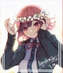 1girl arms_up bangs black_hoodie breasts commentary_request danganronpa eyebrows_behind_hair flipped_hair flower frame hair_flower hair_ornament hand_in_hair happy_birthday head_wreath highres hood hoodie large_breasts lei long_sleeves looking_at_viewer nanami_chiaki neck_ribbon no_nose number pink_eyes pink_hair pink_ribbon red_ribbon ribbon sdr_roll0808 shirt short_hair simple_background solo super_danganronpa_2 upper_body white_background white_shirt