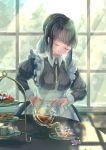1girl absurdres apron black_hair blush breasts cake closed_eyes cup desert food fumizuki_lily hair_bun highres indoors large_breasts maid maid_apron maid_dress original sidelocks solo tea tea_party teacup