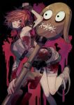 1girl a.b.a bandages blood bloody_clothes bloody_weapon green_eyes guilty_gear guilty_gear_xx key key_in_head looking_at_viewer paracelsus redhead short_hair suzunashi weapon
