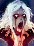 1girl alice:_madness_returns alice_liddell blood blood_from_mouth blood_on_face bloody_hands horror_(expression) horror_(theme) looking_down messy_hair nightmaree-moon-sis open_mouth solo white_eyes white_hair