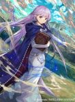 1girl book braid cloak clouds dress fire_emblem fire_emblem:_the_binding_blade fire_emblem_cipher kawasumi_mahiro long_hair magic official_art purple_hair river sophia_(fire_emblem) temple violet_eyes weapon