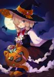 1girl absurdres alpaca_ears alpaca_girl alpaca_suri_(kemono_friends) alternate_costume animal_ears bat black_dress black_legwear blue_eyes bow bowtie candy center_frills dress eyebrows_visible_through_hair food frilled_dress frills full_moon hair_over_one_eye hair_tubes halloween halloween_costume hat highres ichi001 kemono_friends kemono_friends_3 long_sleeves moon multicolored multicolored_clothes multicolored_legwear night night_sky orange_legwear pumpkin red_neckwear shirt short_hair sitting sky solo striped striped_legwear thigh-highs trick_or_treat white_hair white_shirt witch_costume witch_hat zettai_ryouiki