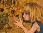 1girl abstract_background blonde_hair blue_eyes blue_shirt flower hand_up highres kapura medium_hair original plant profile shirt signature sleeveless sleeveless_shirt solo sunflower tears upper_body vincent_van_gogh_(style) yellow_flower