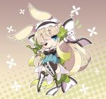 ;) animal_ears bangs between_fingers black_footwear black_hairband black_legwear black_leotard blue_eyes boots bow breasts brown_background brown_hair card character_request chibi closed_mouth commentary_request eyebrows_visible_through_hair flower_knight_girl full_body gradient gradient_background hair_bow hairband halftone halftone_background highres holding holding_card holding_sword holding_weapon leotard long_hair looking_at_viewer medium_breasts milkpanda one_eye_closed outstretched_arm rabbit_ears sleeveless smile sword thick_eyebrows thigh-highs thigh_boots very_long_hair weapon white_bow wrist_cuffs