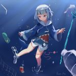 1girl artist_request blue_eyes can drinking_straw fork gawr_gura hololive hololive_english hood hoodie hook net pollution slippers string trash underwater