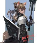 1girl animal_ear_fluff animal_ears arknights armor bangs black_gloves black_jacket black_skirt blue_background bracer breastplate brown_eyes brown_hair chinese_commentary commentary_request cowboy_shot dated gloves gradient gradient_background hair_between_eyes headphones headset highres holding holding_weapon jacket jiao_cat long_hair looking_at_viewer nearl_(arknights) pauldrons shield shoulder_armor sidelocks skirt skirt_set solo standing weapon