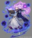 1girl braid cloak darkness dress fire_emblem fire_emblem:_the_binding_blade fire_emblem_cipher grey_background jewelry kawasumi_mahiro magic magic_circle official_art purple_dress purple_hair sophia_(fire_emblem) violet_eyes weapon