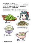 1girl apron bowl dress_shirt food green_eyes green_hair hair_ribbon highres irako_(kantai_collection) kantai_collection ladle long_hair necktie pink_shirt ponytail ribbon rice rice_bowl seiran_(mousouchiku) shirt solo soup translation_request upper_body white_apron