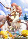 1boy 1girl celica_(fire_emblem) child conrad_(fire_emblem) fire_emblem fire_emblem_cipher fire_emblem_echoes:_shadows_of_valentia flower horse mineri official_art pantyhose red_eyes redhead siblings stick