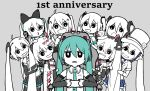 6+girls absurdres ahoge anniversary aqua_hair aqua_neckwear bare_shoulders black_bow black_eyes black_sleeves blue_skirt bow cable card chair controller detached_sleeves expressionless game_controller grey_background grin gyari_(imagesdawn)_(style) hair_bow hair_ornament hairclip hat hatsune_miku headphones headset highres holding holding_controller holding_game_controller japanese_clothes kimono long_hair looking_at_another looking_at_viewer magical_mirai_(vocaloid) makuhari-chan mini_hat mini_top_hat multiple_girls multiple_persona necktie open_mouth parody partially_colored playing_card pouty_lips rennkurusu shirt shoulder_tattoo skirt sleeveless sleeveless_shirt smile spade_(shape) star_(symbol) star_hair_ornament style_parody tattoo top_hat twintails very_long_hair vocaloid white_shirt wide_sleeves yukata