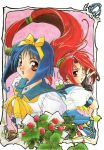 1990s_(style) 2girls absurdres asuka_120_percent berries black_gloves blue_hair blue_sailor_collar blue_skirt bow brown_eyes dark_blue_hair fingerless_gloves floating_hair food frame frog fruit gloves hair_bow hair_ribbon high_ponytail highres honda_asuka ishida_atsuko long_hair low-tied_long_hair marker_(medium) multiple_girls neckerchief official_art open_mouth pink_background pleated_skirt ponytail red_eyes redhead ribbon sailor_collar scan school_uniform serafuku short_hair short_sleeves skirt smile strawberry toyota_karina traditional_media very_long_hair yellow_bow